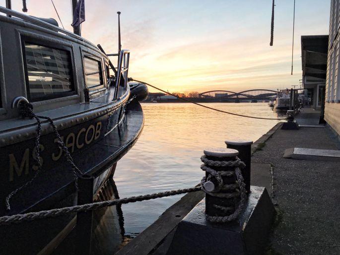 Ausblick auf die Elbe von den Public Coffee Roasters Hamburg