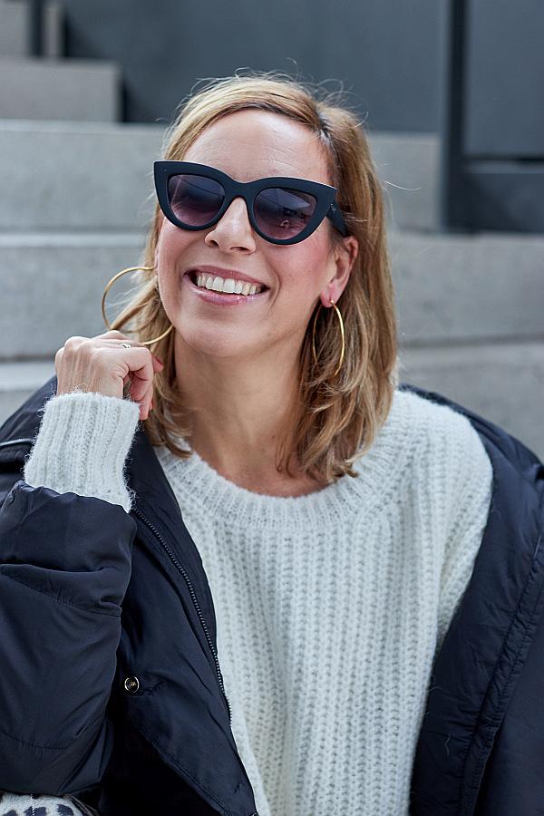 Outfit Inspiration Strickpullover von Herrlicher & Cat Eye Sonnenbrille
