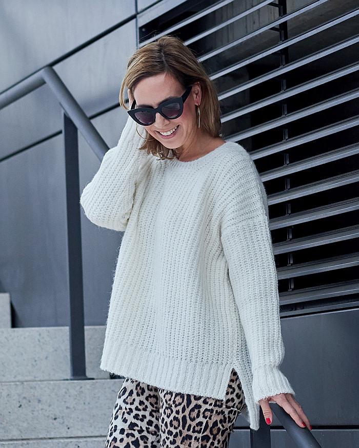 Outfit Inspiration Strick von Herrlicher & Leopardenprint Hose von Fiveunits