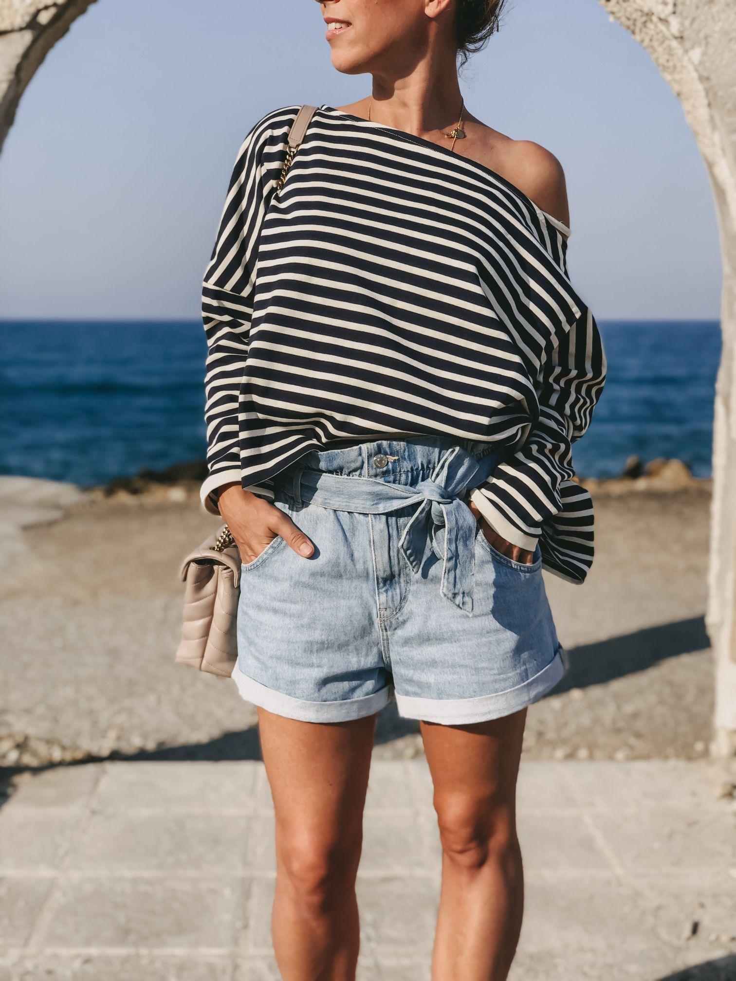 Streifen kombinieren zu Paperbag Denim Shorts