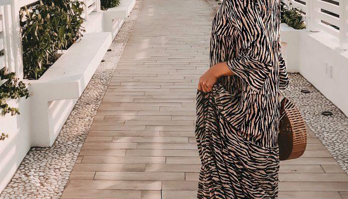 FASHION: Zebra Print Maxikleid & Bambus Tasche