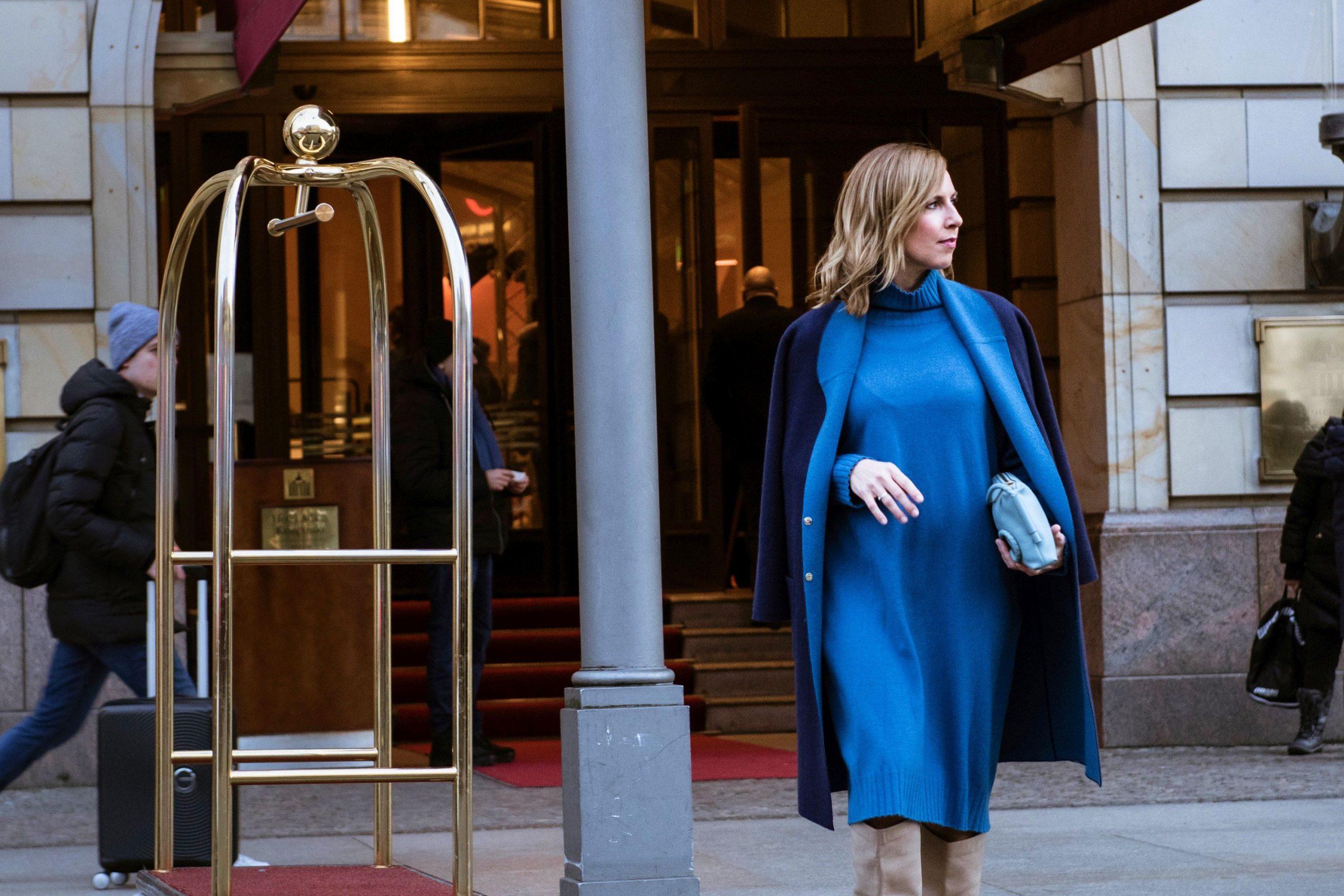 Edelziege Cashmere Kleid blau und Cashmere Mantel