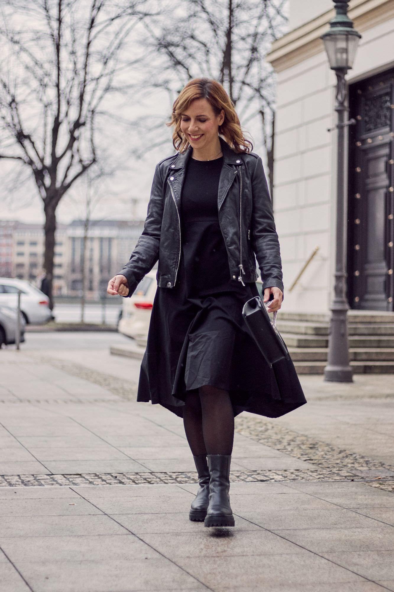SoSue Kleid Vanny & Set Lederjacke in schwarz