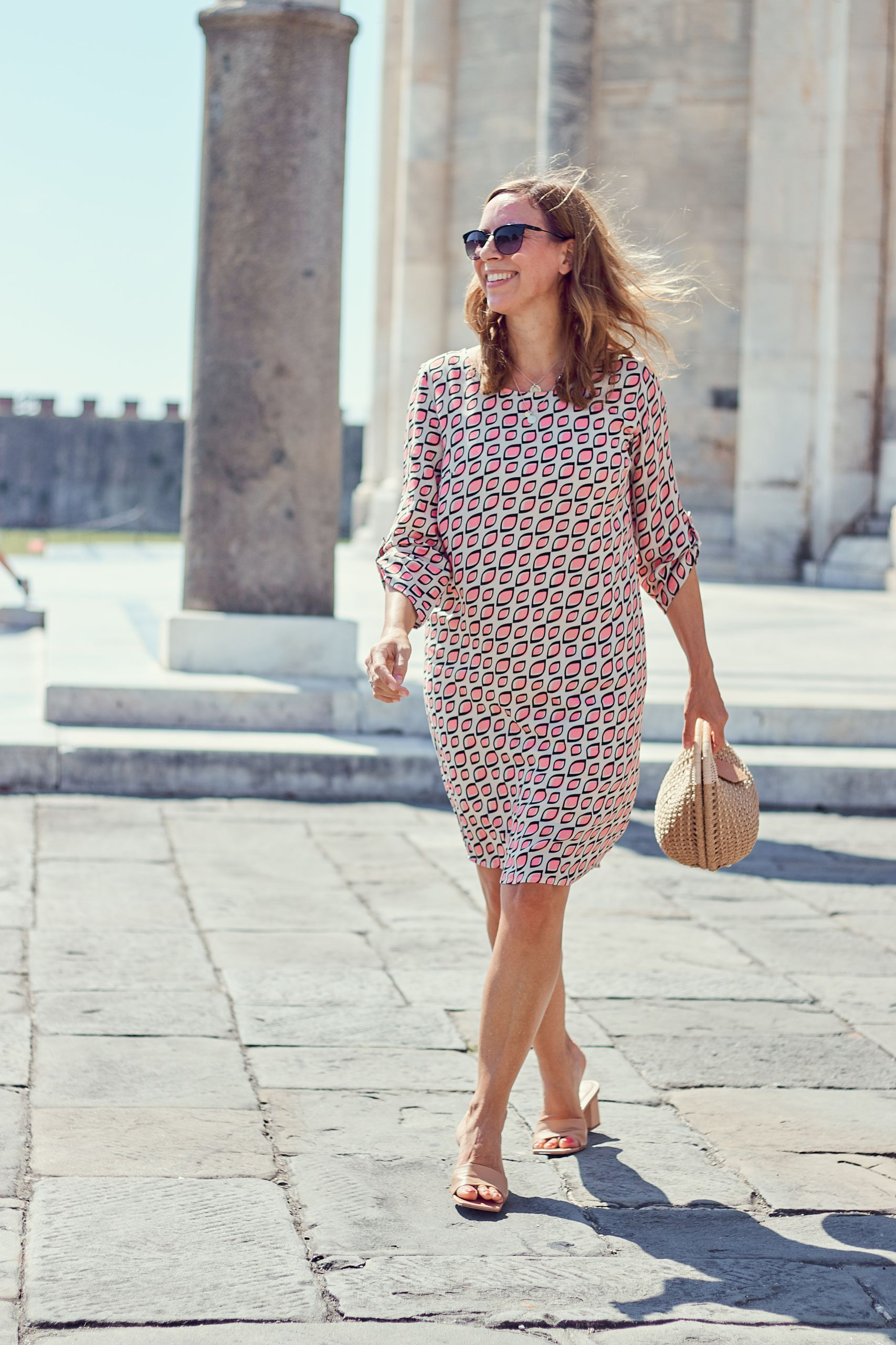 Inspiration für Urlaubsoutfits Allover Print Kleid von Alba Moda