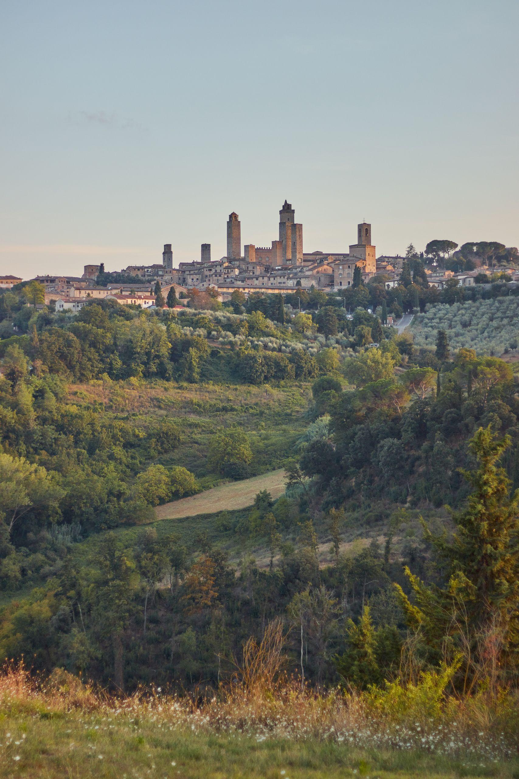 Blick auf die Geschlechtertürme von San Gimignano beim Toskana Roadtrip