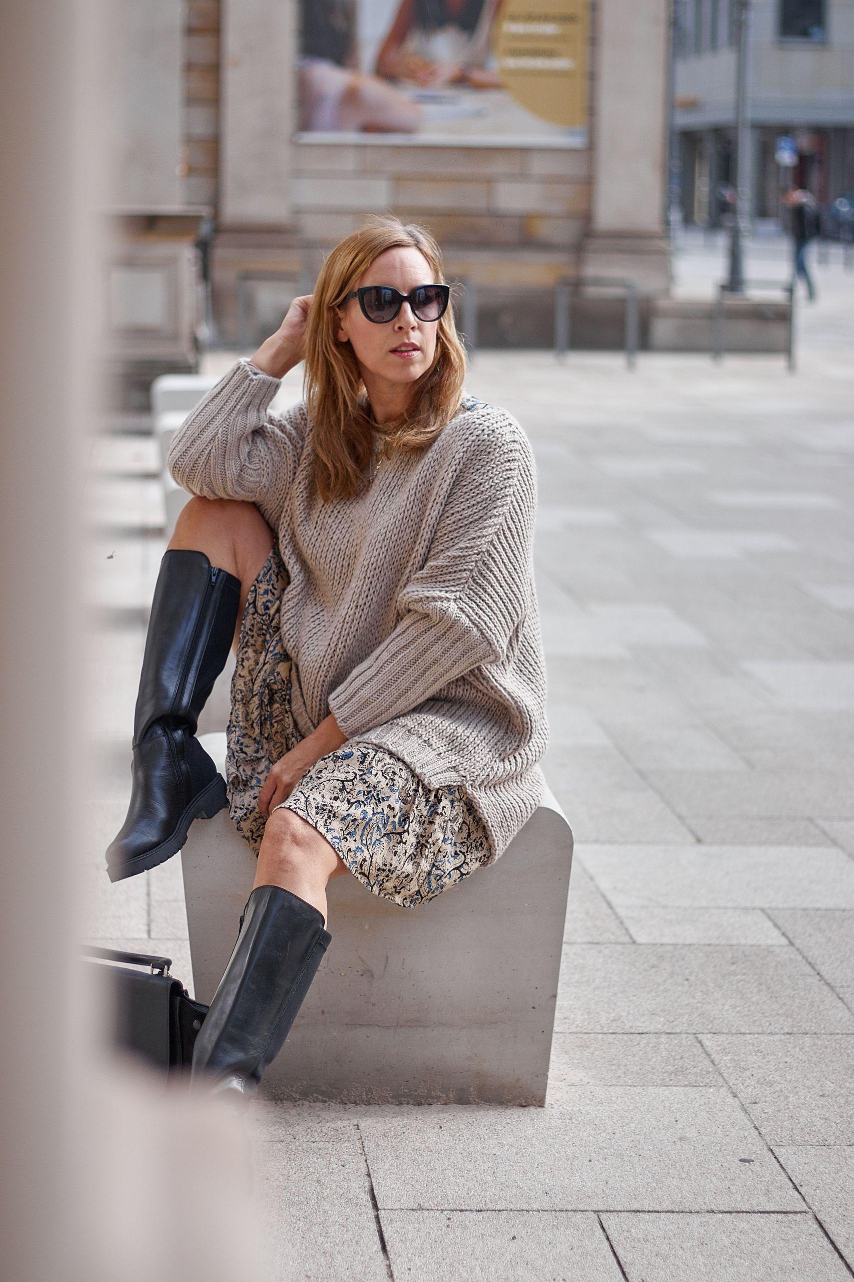 LaShoe Stiefel zum Grobstrick Pullover