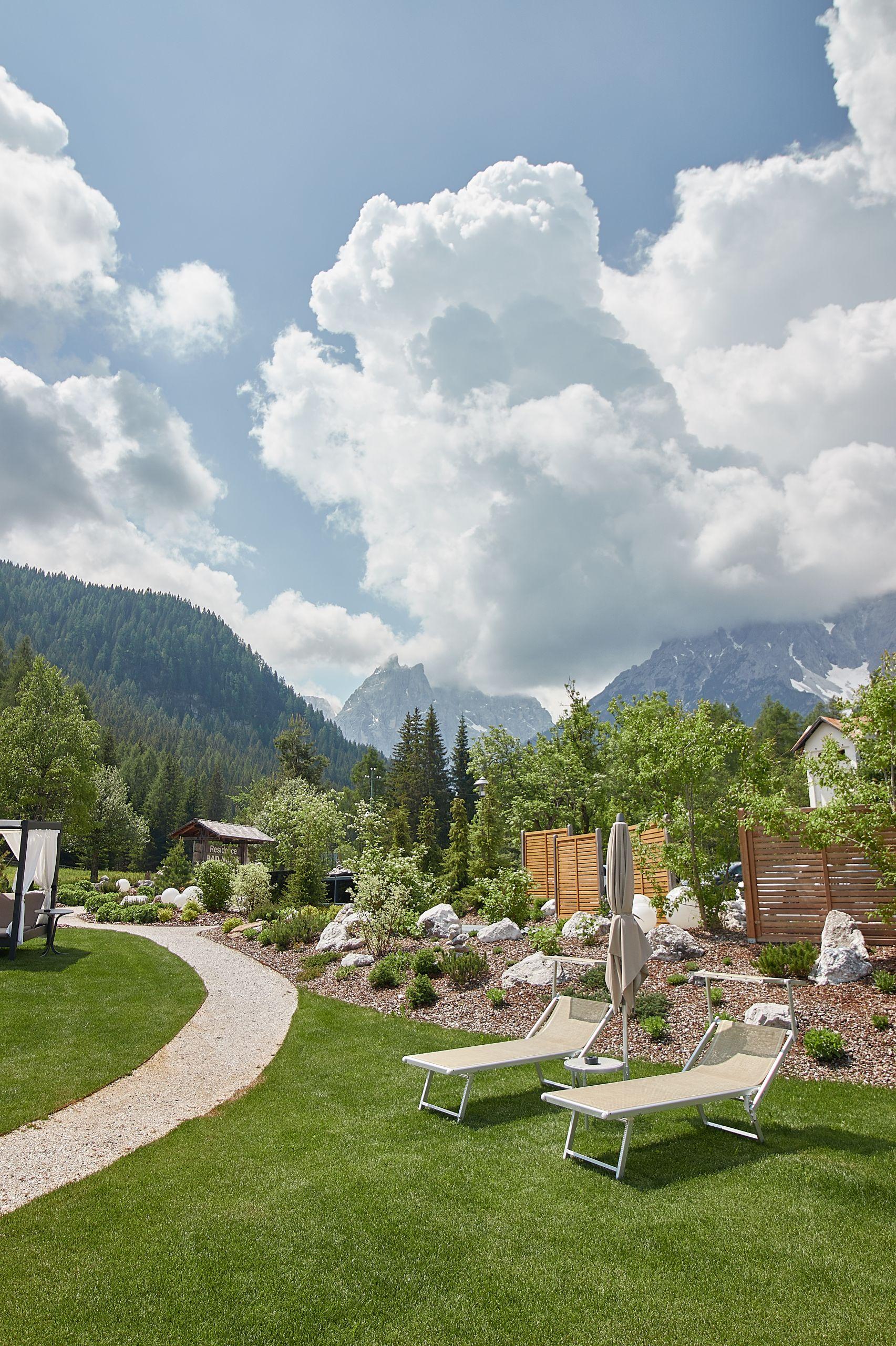 Ausblick auf die Drei Zinnen vom Bad Moos Dolomites Spa Resort