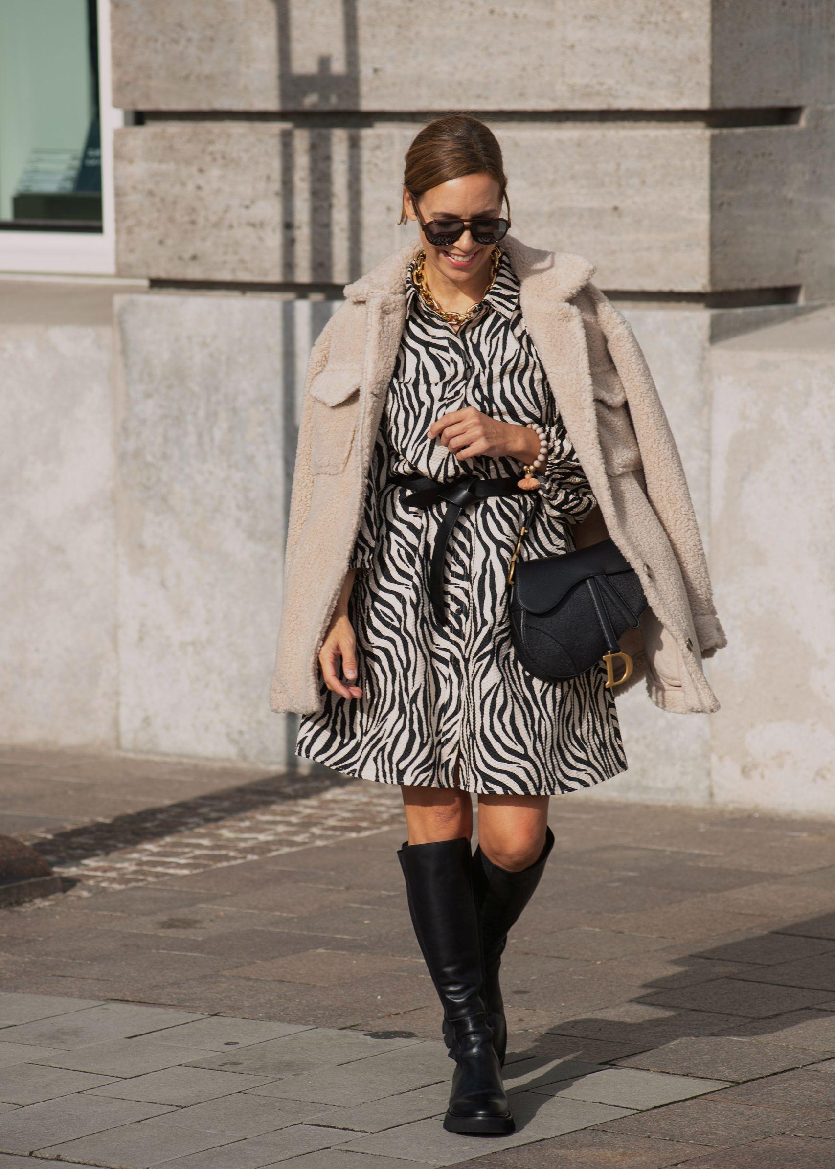 Raffaele Riccardi Stiefel zum Zebra Kleid mit Dior Saddle Tasche